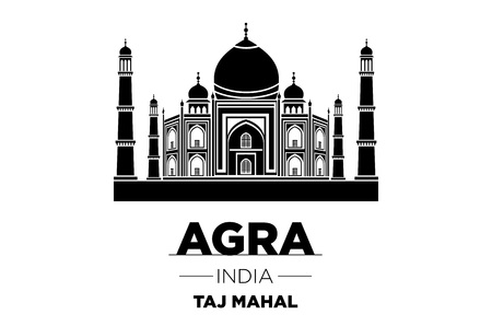 agra: Agra Skyline with Typography Design vector art