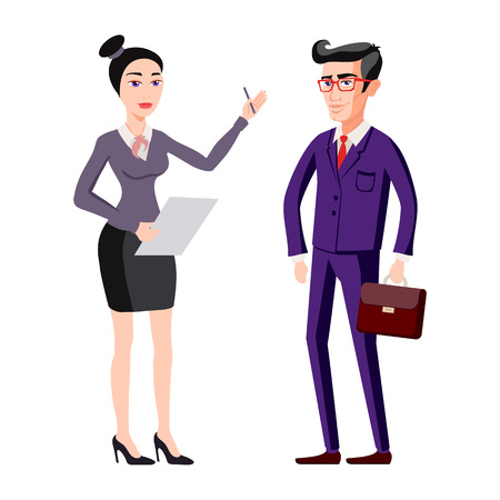 full length woman: full length picture of a young business man and woman walking forward with a briefcase isolated on white background vector art