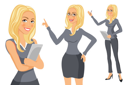 skirt suit: Business Woman blonde. Girl. young women in elegant office clothes art vector art Illustration