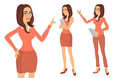 woman smiling: Business Girl. young women in elegant office clothes art vector art