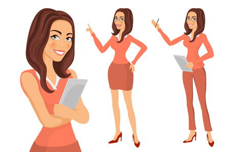 folded clothes: portrait of beautiful woman standing with arms folded. Business Girl. young women in elegant office clothes art vector art