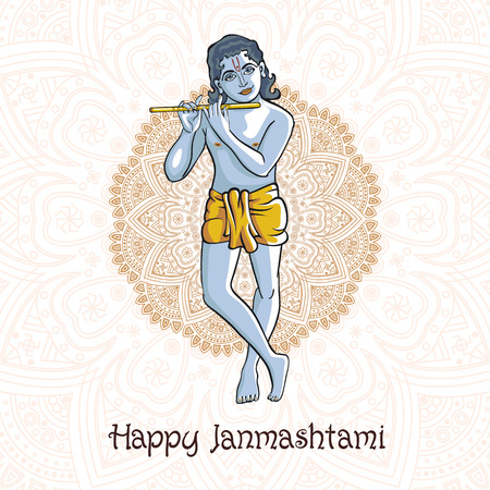 birthday religious: Krishna Janmashtami - Hindu festival. Hare Krishnas. Golden Krishna playing a flute on a black background and the mandala background vectoe art