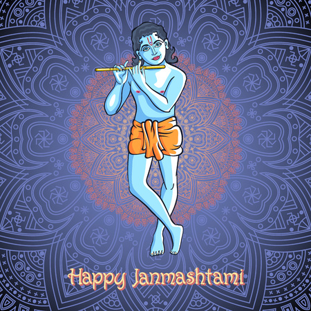 mahabharata: Lord Krishna Plays His Flute against the background of the mandala blue backgroun vector art