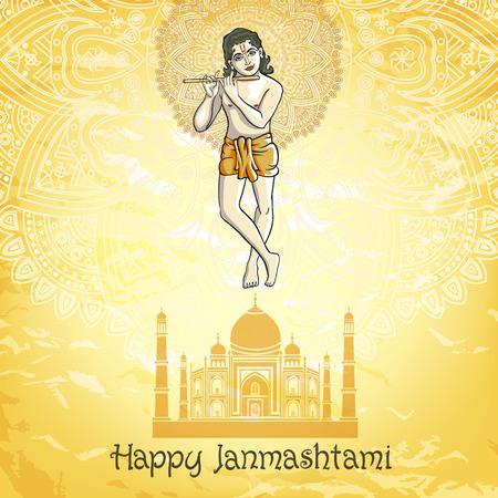 mahabharata: Krishna playing the flute. Vector illustration for the Indian festival of janamashtmi celebration against the background of the mandala art