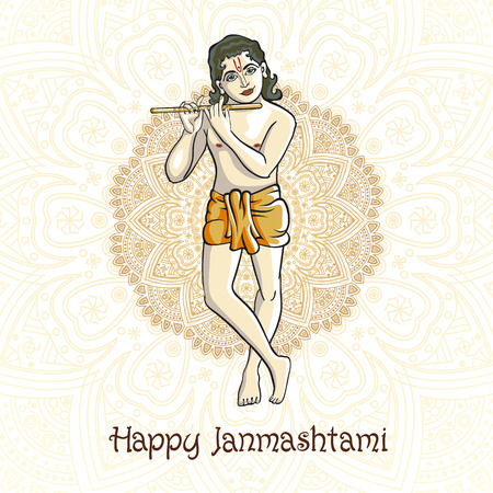 asian and indian ethnicities: Krishna playing the flute. Vector illustration for the Indian festival of janamashtmi celebration against the background of the mandala art