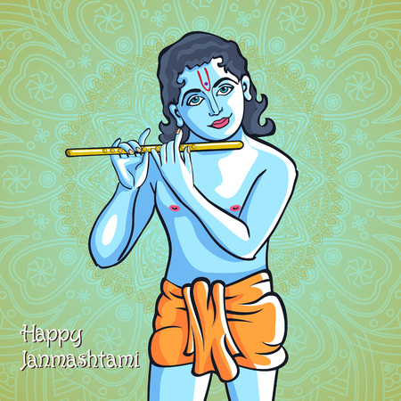 lord krishna: Hindu young god Lord Krishna. Happy janmashtami vector art
