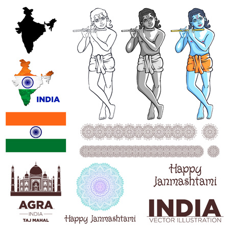 drapeau de l'inde Krishna taj mahal art vecteur carte mandala Vecteurs