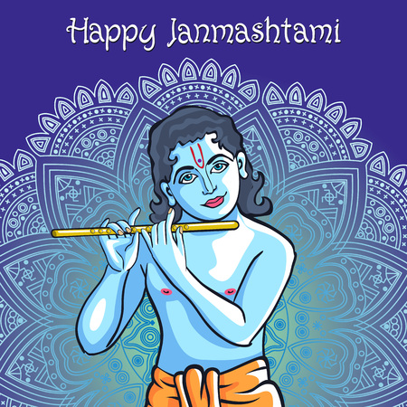 mahabharata: Hindu young god Lord Krishna. Happy janmashtami vector art