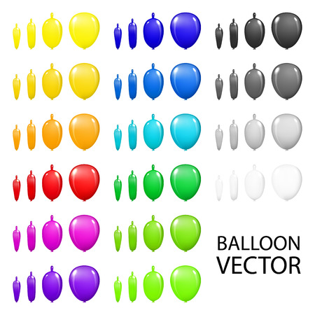 3d paper art: colorful holidays balloons set closeup isolated on white background. Hand painting on paper 3d vector art Illustration