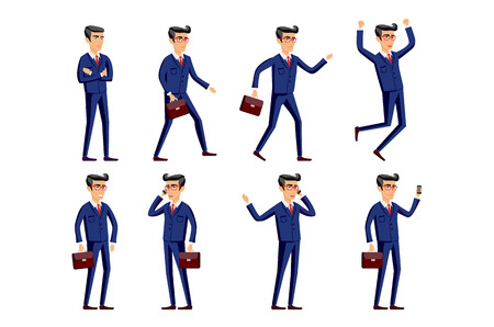 young business man: Set of Happy office man. Vector illustration art Illustration