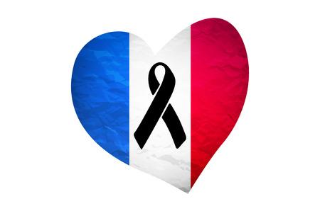 melanoma: black mourning ribbon on a flag of France vector art
