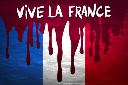 nice france: flag France in concept. the blood flowing on the French flag. vector art