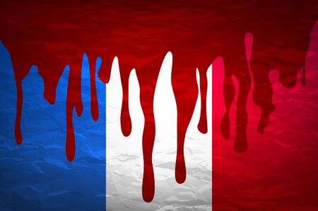flag France in concept. the blood flowing on the French flag. vector art