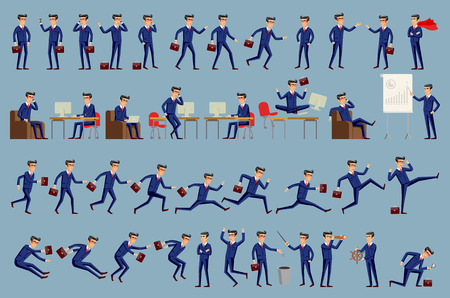 businessman jumping: Large vector set of businessman character poses, gestures and actions. Office worker professional standing, walking, talking on phone, working, running, jumping, searching, and more. art Illustration