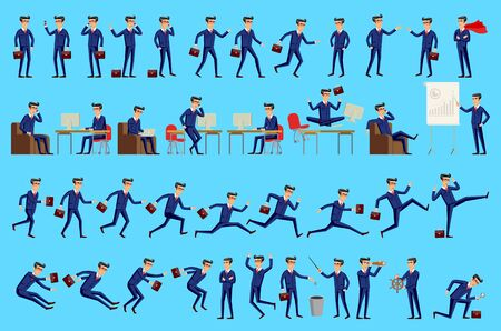 Set of Happy office man. Vector illustration. Set of businessman characters poses