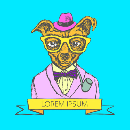 doggy: Hand Drawn Fashion Illustration of Doggy Hipster in colors vector art