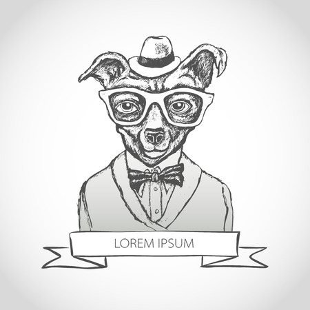 Illustration of dog hipster with tattoo dressed up in t-shirt with quote vector art Illustration