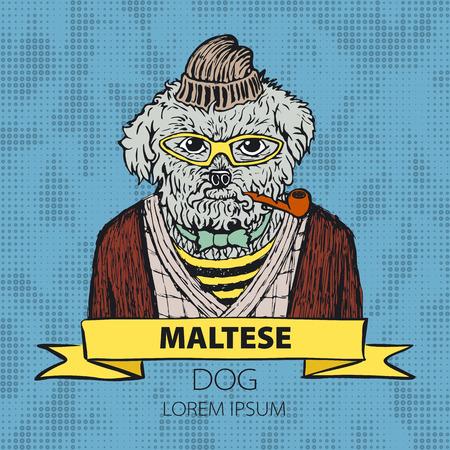 maltese dog: Portrait of a dog Maltese in green headphones and with cravat. Vector illustration. art Illustration
