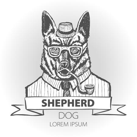 German dog Shepherd hipster smokes a pipe in a headdress Illustration vector art Illustration