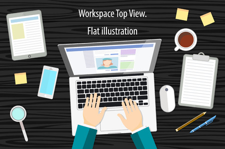 designing: Professional creative graphic designer working at office desk, he is designing a vector illustration using a laptop art Illustration