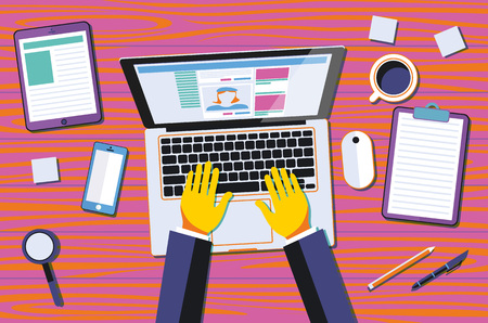 graphic designing: Professional creative graphic designer working at office desk, he is designing a vector illustration using a laptop art Illustration