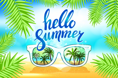 sunglasses reflection: White Sunglasses reflection sunset at palm tree landscape scene in light blue studio, Summer Time concept, Leave space for adding your content or text vector art