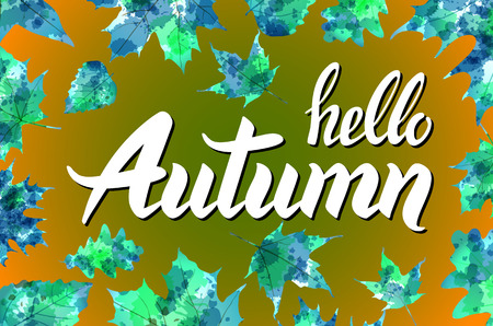 fall leaves on white: Hello autumn. Hand drawn different colored autumn leaves. Sketch, design elements. Vector illustration. art Illustration