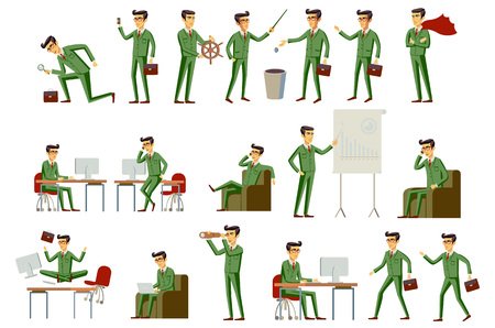 green hair: Vector set orange hair character businessman in green suit, in different poses. vector art