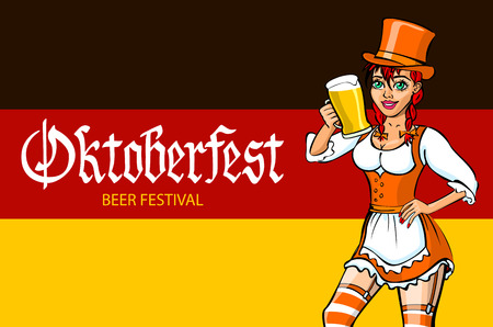 bavarian girl: oktoberfest bavarian girl. Oktoberfest vector illustration. background of the flag of Germany. art