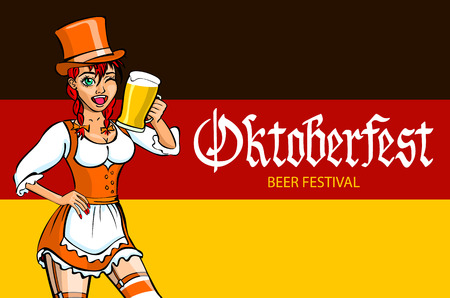 oktoberfest bavarian girl. Oktoberfest vector illustration. background of the flag of Germany. art