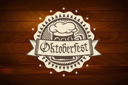 wood craft: oktoberfest Retro styled label of pub or craft brewery beer scorched on wood art