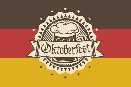 brim: Oktoberfest in the pub or bar during the fest, beer mug with foam filled to the brim for traditional vintage pub for oktoberfest banner, Bavarian art Illustration