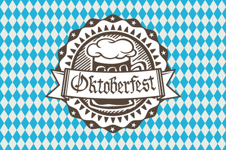 Oktoberfest in the pub or bar during the fest, beer mug with foam filled to the brim for traditional vintage pub for oktoberfest banner, Bavarian pattern art