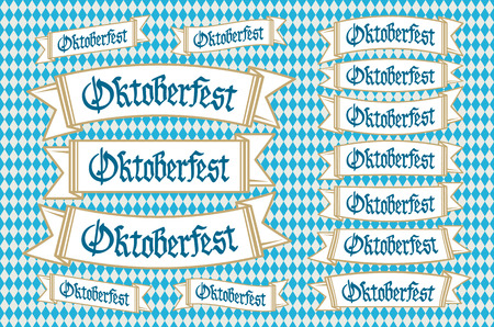 Oktoberfest banners in bavarian colors set. Bavaria festival white and blue Oktoberfest ribbon. Munich design national icon Oktoberfest ribbon culture tradition colorful sign. art Vettoriali