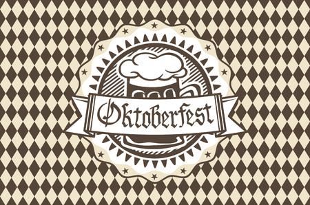 brim: Oktoberfest in the pub or bar during the fest, beer mug with foam filled to the brim for traditional vintage pub for oktoberfest banner, Bavarian pattern art