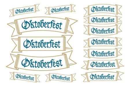 bavarian culture: Oktoberfest banners in bavarian colors set. Bavaria festival white and blue Oktoberfest ribbon. Munich design national icon Oktoberfest ribbon culture tradition colorful sign.