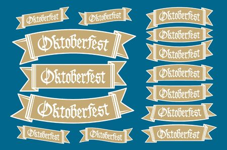 oktober: Oktoberfest banners in bavarian colors set. Bavaria festival white and blue Oktoberfest ribbon. Munich design national icon Oktoberfest ribbon culture tradition colorful sign.
