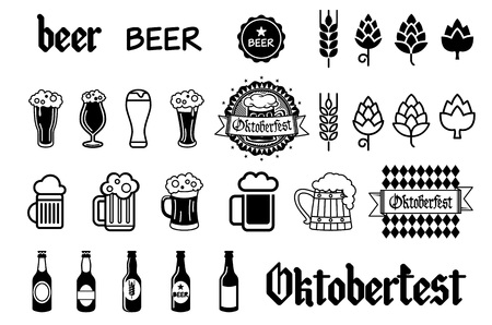 pint: Beer icons set - bottle, glass, pint art Illustration