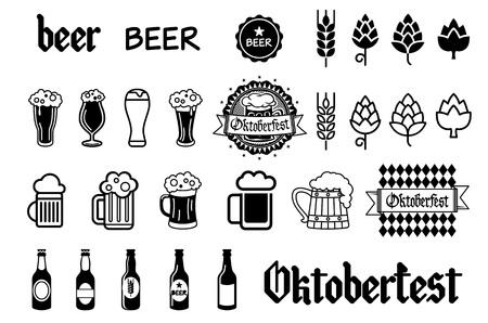 pint glass: Beer icons set - bottle, glass, pint art Illustration