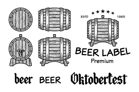 foreshortening: Set of vintage wooden barrels in different foreshortening. Monochrome style. Isolated on white back ground vector art