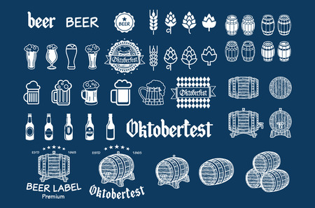real ale: Beer icon chalkboard set - labels, posters, signs, banners, vector design symbols. art Illustration