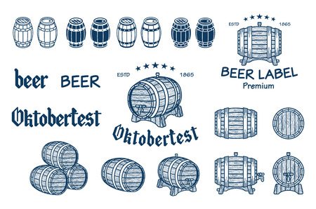 Vector set of barrels in vintage style. Collection barrels on a white background - stock vector. art