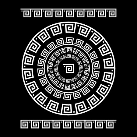 Circle ornament meander. Round frame, rosette of ancient elements. Greek national antique round pattern, vector. Rectangular pulse. Ancient seamless meandros border art