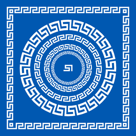 meander: Set of vector brushes to create Greek Meander patterns and samples of their application for round and square frames. Greek borders. Blue color isolated on white background art Illustration