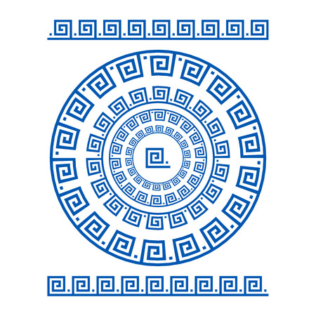 antiquities: Circle ornament meander. Round frame, rosette of ancient elements. Greek national antique round pattern, vector. Rectangular pulse. Ancient seamless meandros border art