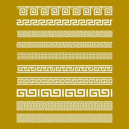 meander: Seamless Gold Meander Patterns vector art Illustration