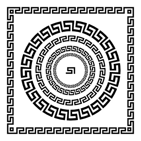 Greek Ornament. Circle ornament meander. Round frame, rosette of ancient elements. Greek national antique round pattern, vector. Rectangular pulse. border art
