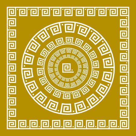 meander: Vector set Traditional vintage golden square and round Greek ornament Meander and floral pattern on a black background art