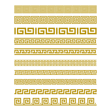 Seamless Gold Meander Patterns vector art Çizim