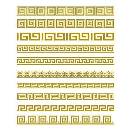 Seamless Gold Meander Patterns vector art Illustration